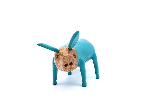 Turquoise Fairtrade Bamboo Wooden Pig