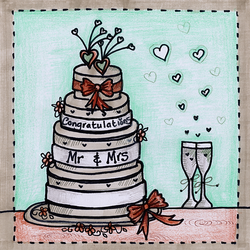 Wedding Cake with Glasses Card