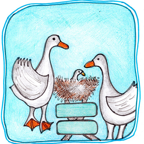 Geese and Baby Gosling Card