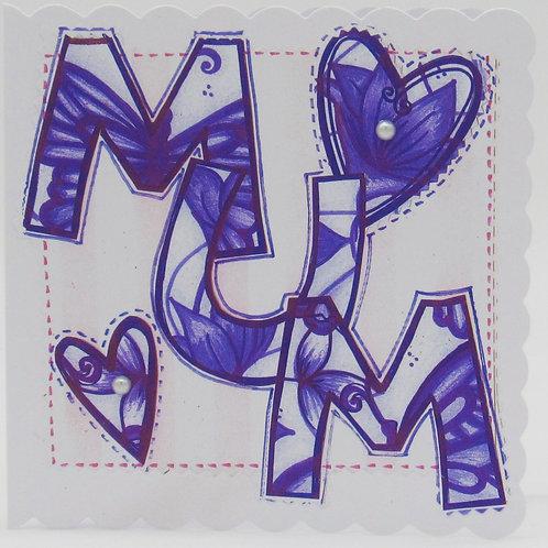 Purple Flower Mum Card