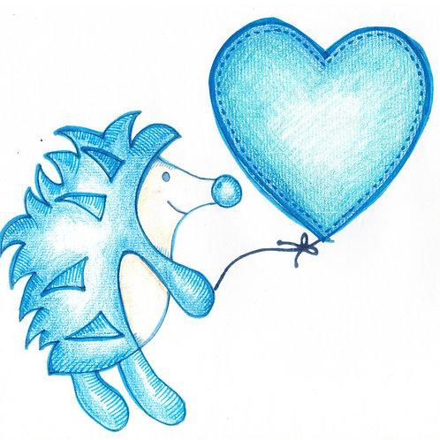 Blue Hedgehog with Balloon Card