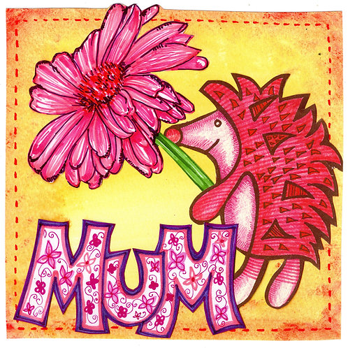 Mum with Hedgehog & Flower Card