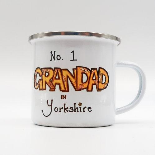 No 1 Grandad in Yorkshire Enamel Cup