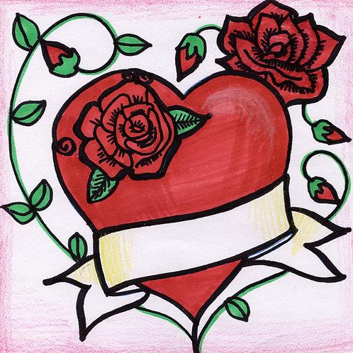 Tattoo & Rose Heart Card