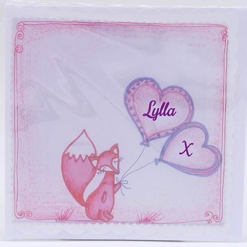 Small Pink Fox Card
