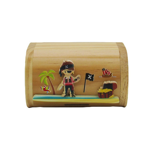 Personalised pirate wooden moneybox