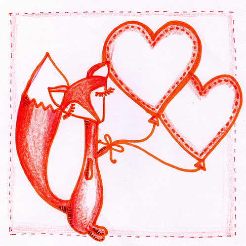 Foxes with Hearts Card