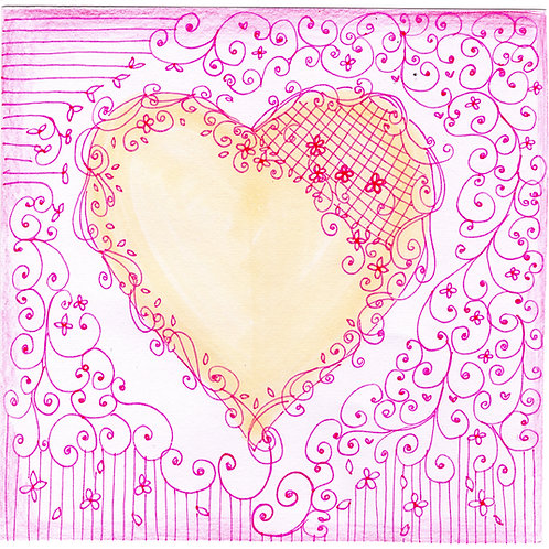 Pink Floral & Cream Heart Card