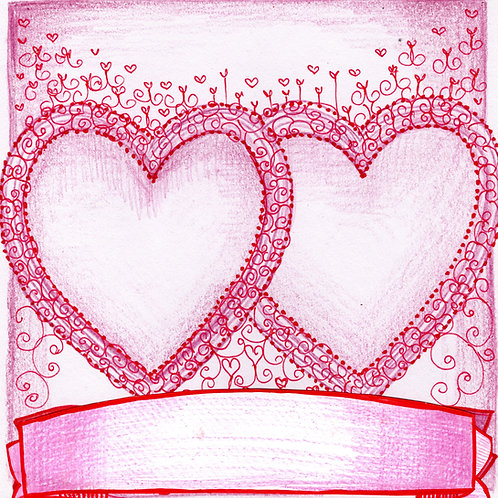Two Pink Hearts Card