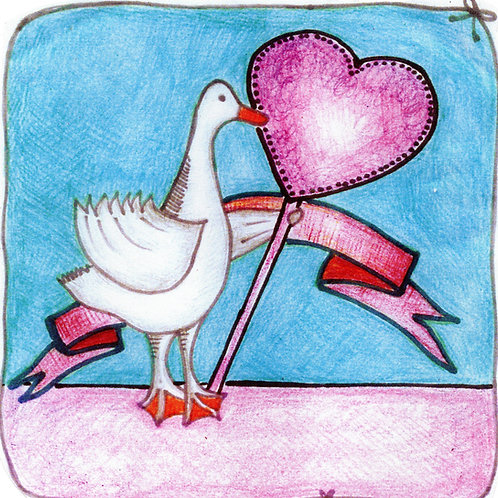 Goose holding heart plaque