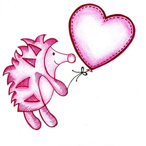 Light Pink Hedgehog Card