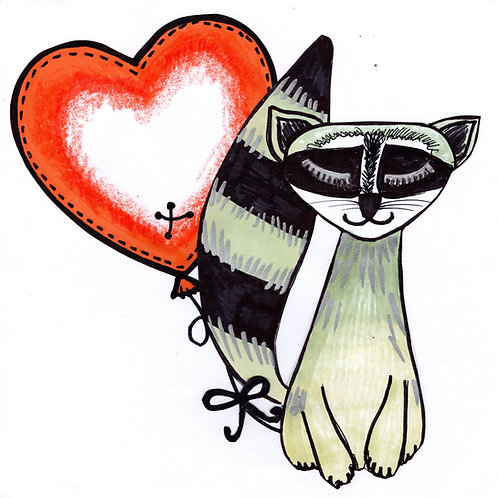 Racoon with Heart Card