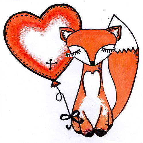 Brown Fox with Heart Card