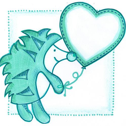 Green Hedgehog Holding a Balloon Card