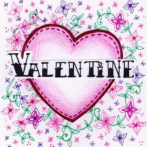 Valentine's Pink Heart Card
