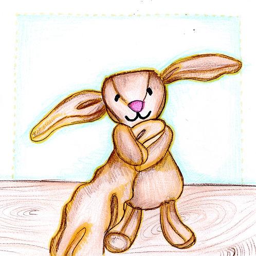 Cute Bunny Holding Blanket Card