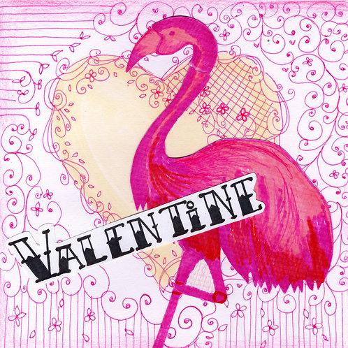 Pink Flamingo Valentine's Card