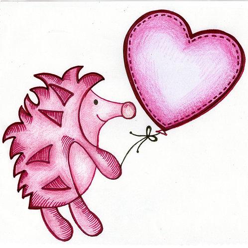 Dark Pink Hedgehog Card