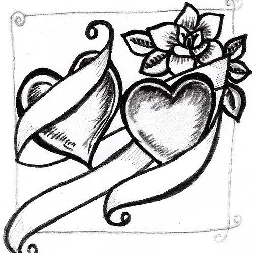 Black & White Heart Card