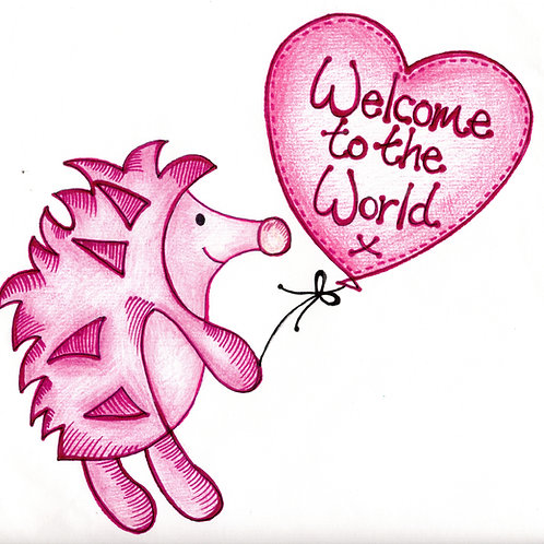 Welcome to the World Pink Hedgehog Card