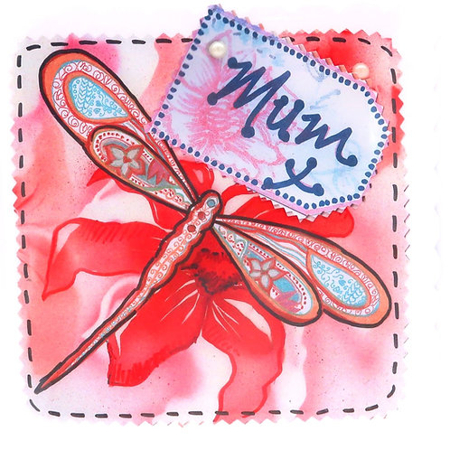 Red Dragonfly Mum Card
