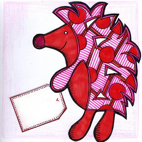 Hedgehog with Tag Card