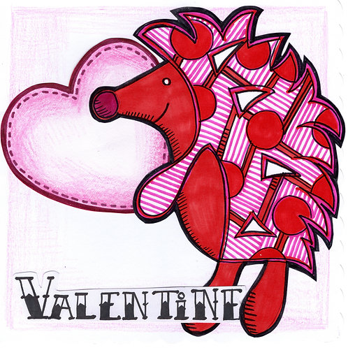 Valentine's Hedgehog with Heart Card