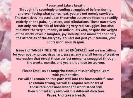 Tangerine Zine: Em[brace] - call for submissions!