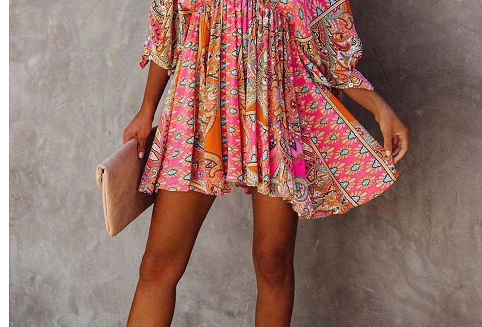 V Cut Bohemian Mini Dress