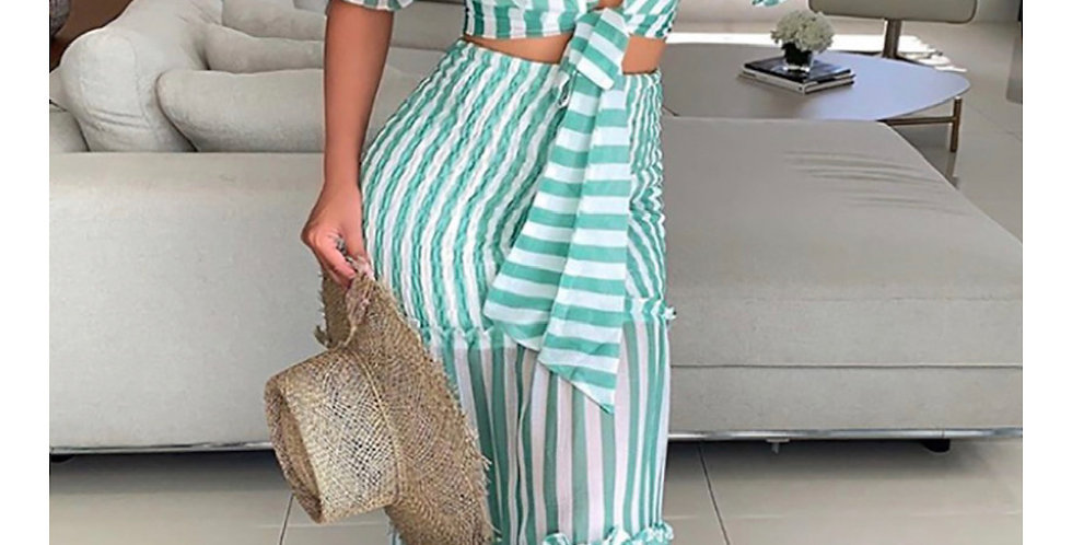 Mint Striped Skirt Set