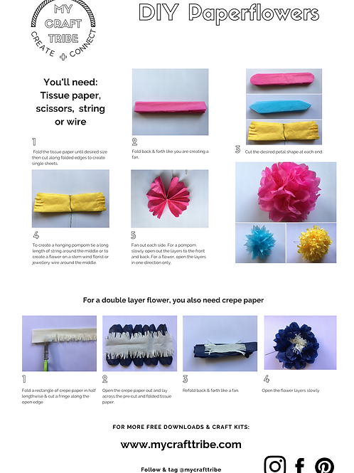 DIY Simple Paper Flowers or Pom Poms - free download with code FREE