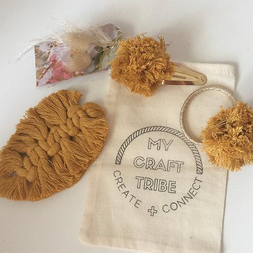 Handmade boho hair accessory set - Macrame feather & pompoms