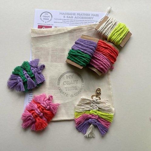 DIY Macrame Feather Hair & Bag Accessories Kit