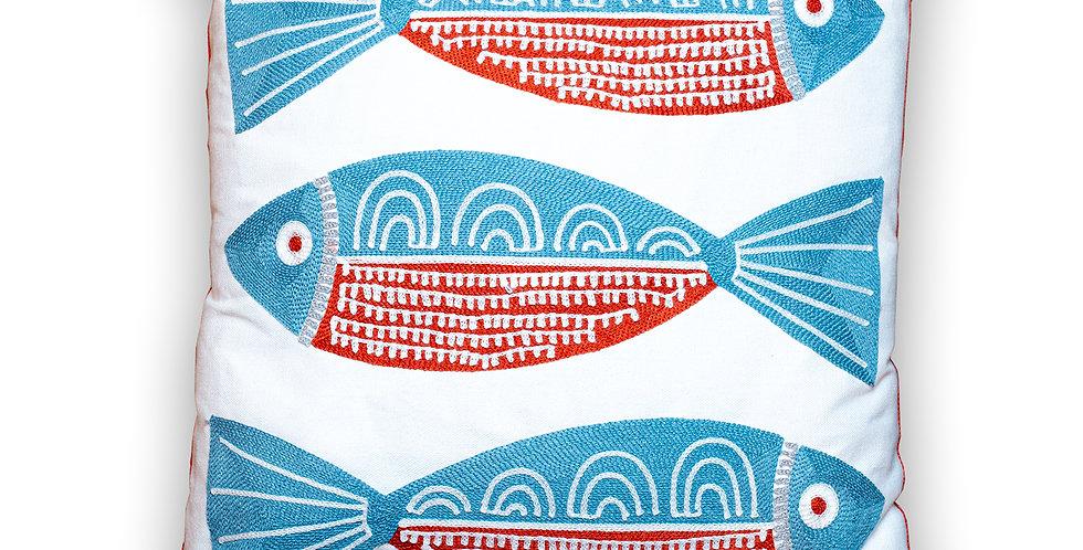 Coussin brodé 3 poissons