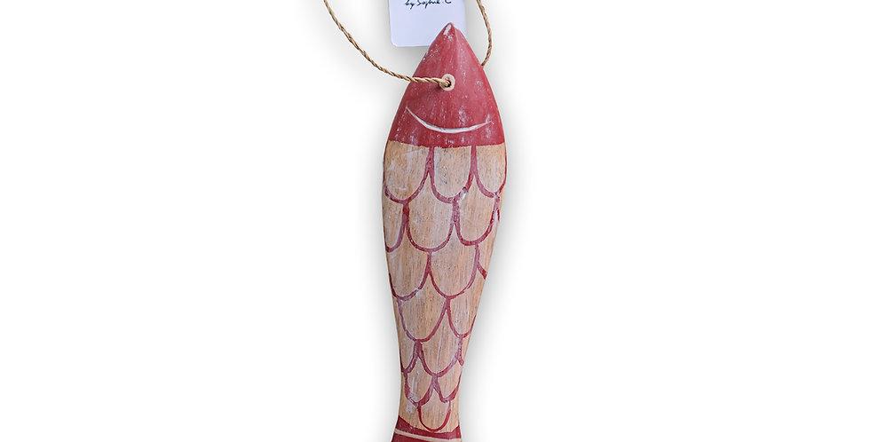 Poisson rouge en bois grand modèle