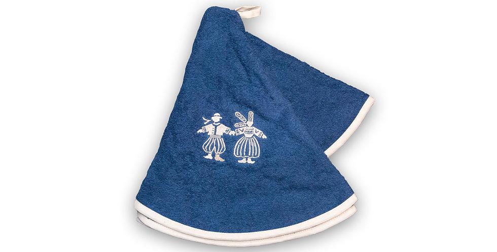 Essuie mains-rond-éponge bleue - broderie beige