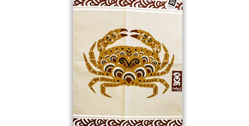 Torchon Crabe fleuri