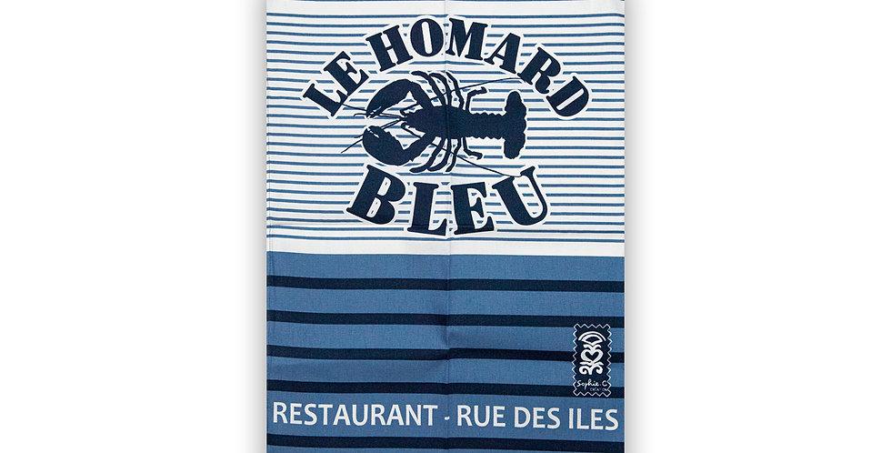 Torchon Rayure Homard bleu