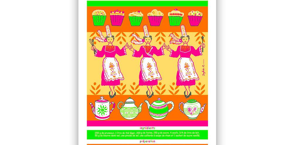 Torchon Recette couleur far aux pruneaux