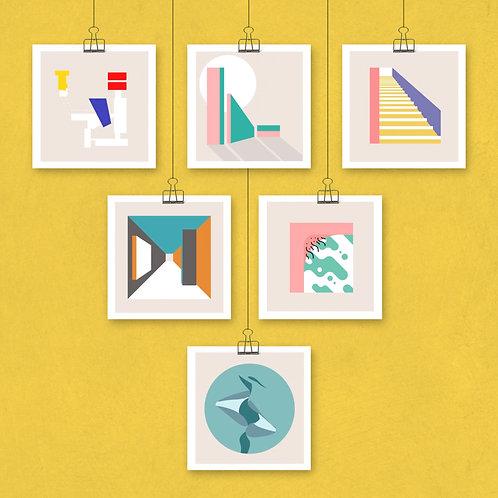 6 prints, 42 cm x 42 cm, mat papier (ook los te krijgen)