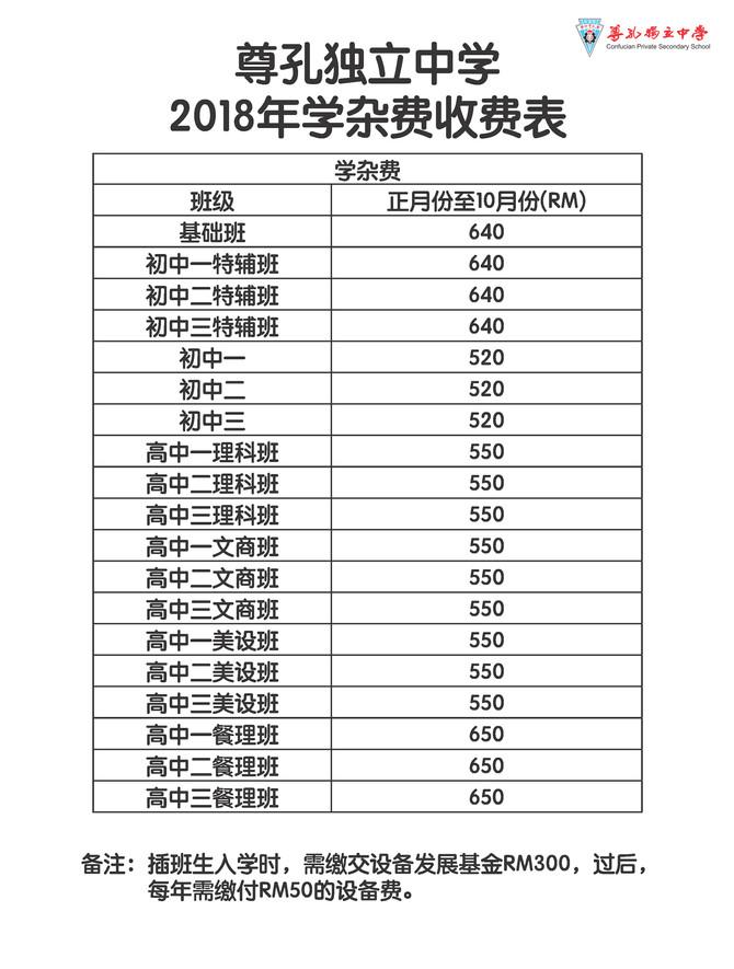 [事务处]2018年学杂费收费表
