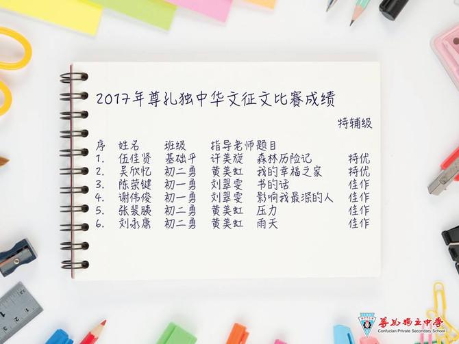 2017年尊孔独中华文征文比赛成绩