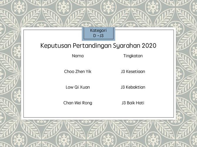 2020 国语演讲比赛入围名单