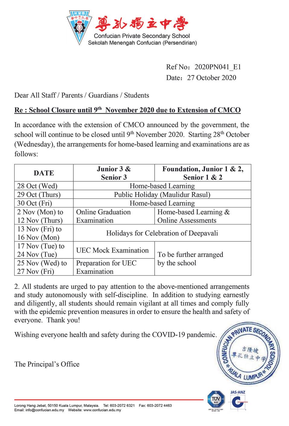 CMCO School Closure until 9th November