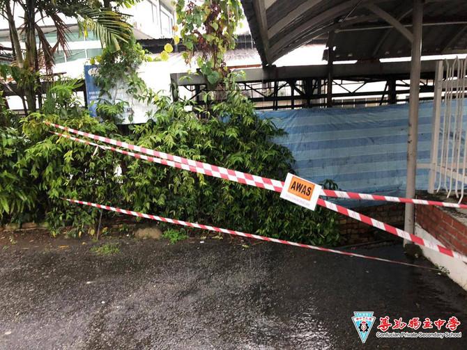 [安全提醒]卫理公会旁小径柏油路坍塌