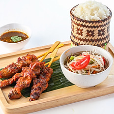 410 Thai Style Grilled Pork Skewers with Sticky Rice