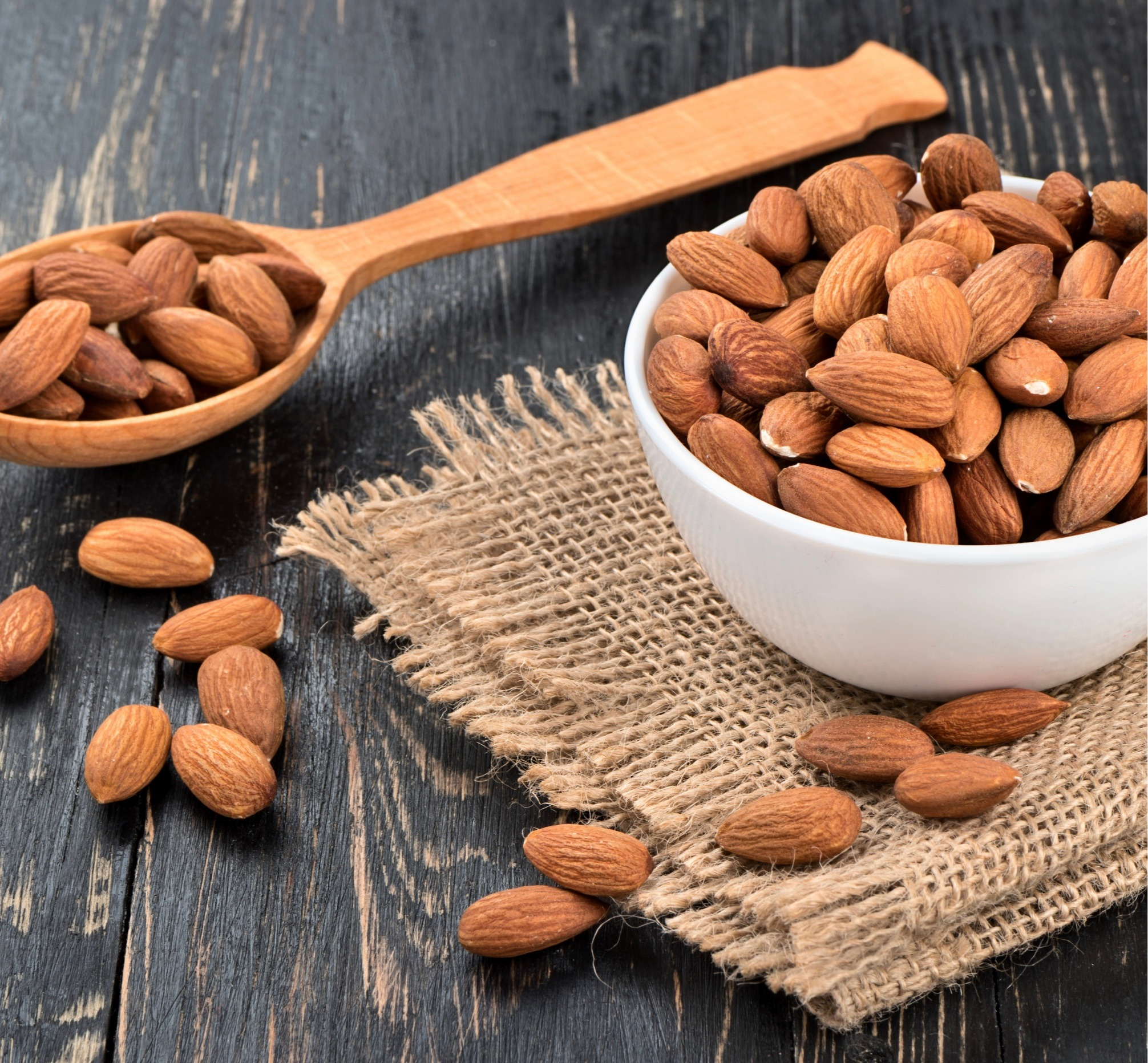 Unroasted and unsalted almonds