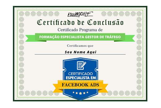Certificado Gestor de Trafego Pago curso eugencia de marketing digital eduardohlf