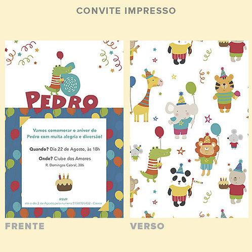Convite Aniver Zoo | Impresso