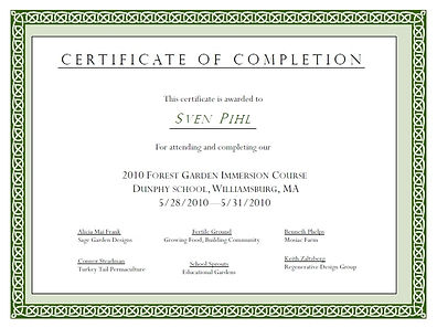 Forest Garden Immersion Course Certifica